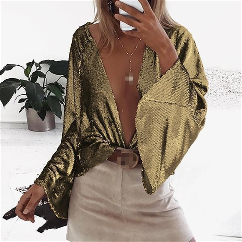 Hot Women Sexy Open Sitch Tops   Blouse   Flare Sleeve Deep V Gold Silver Blue Night Club Sequins   Blouses     Shirt   Clothes Femme