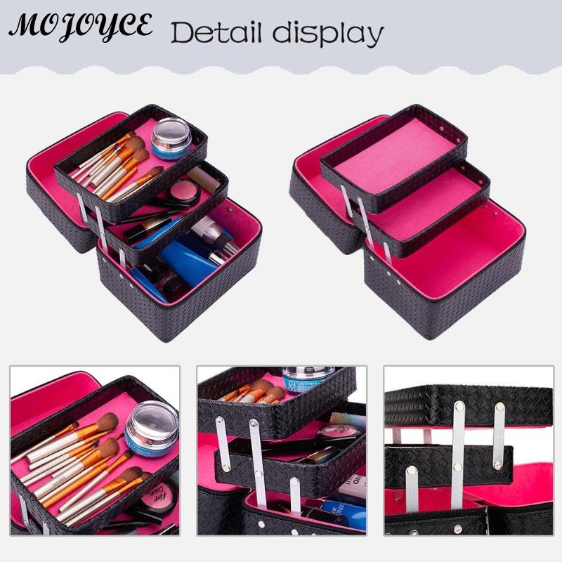 Solid Color Large Capacity Suitcase Professional Makeup Storage Case Women Cosmetics Box Multilayer Handbags Bolsas Feminina New