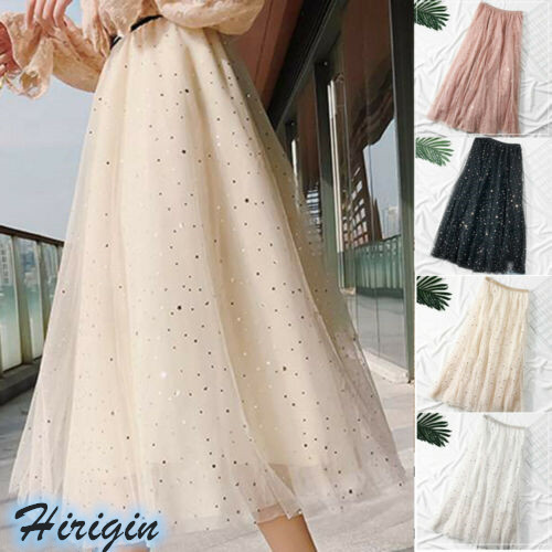 Summer Skirts 2019 New Women Elastic High Waist A-lined Skirt Loose Long Skirt Sliver Stars And Moon Tulle Skirt
