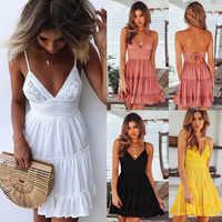 2019 moda mujer vestido sin mangas de encaje de verano de noche playa vestido de fiesta de playa de señoras vestidos de Streetwear mujer