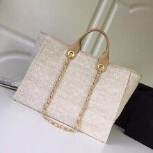 9fe4ddfb2cb Toile femmes sacs à provisions neverfull top qualité célèbre marque fourre- tout avec chaîne sac