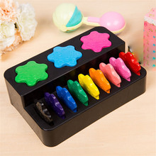 цены 12 Colors non-toxic wax Creative painting crayons Ring shape toys for children gifts Early puzzle baby toy drawing art supplies