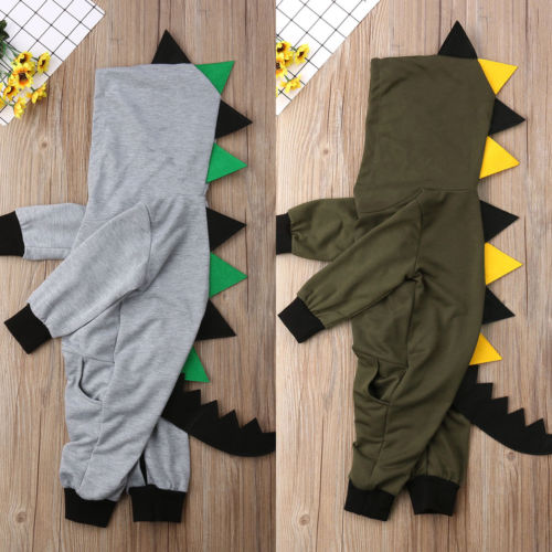 Dinosaur Infant Baby Boy Girl Clothing Hooded   Romper   Long Sleeve Cotton Casual Jumpsuit Kids Outfits Set Clothes Baby Boys 0-24M
