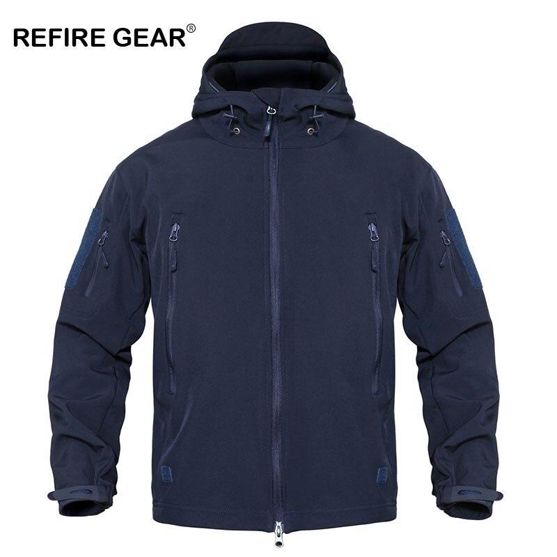 Refire Gear Outdoor Soft Shell Fleece Windbreaker Jacket Men Sports Navy Blue Windproof Waterproof Jacket Coat