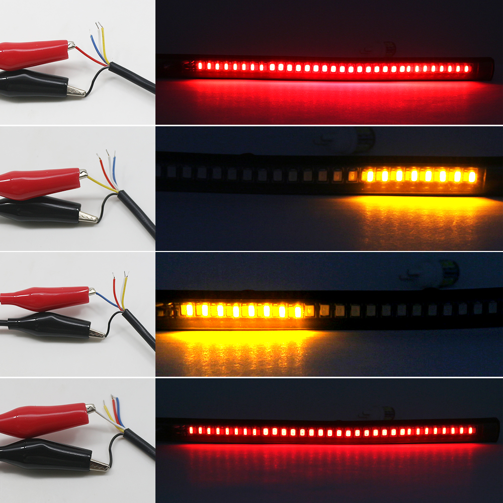 Motorcycle Light Bar Strip 2835 SMD 48 LED Red Amber Color Brake Stop Turn Signal Tail Light Moto License Plate Light Integrated