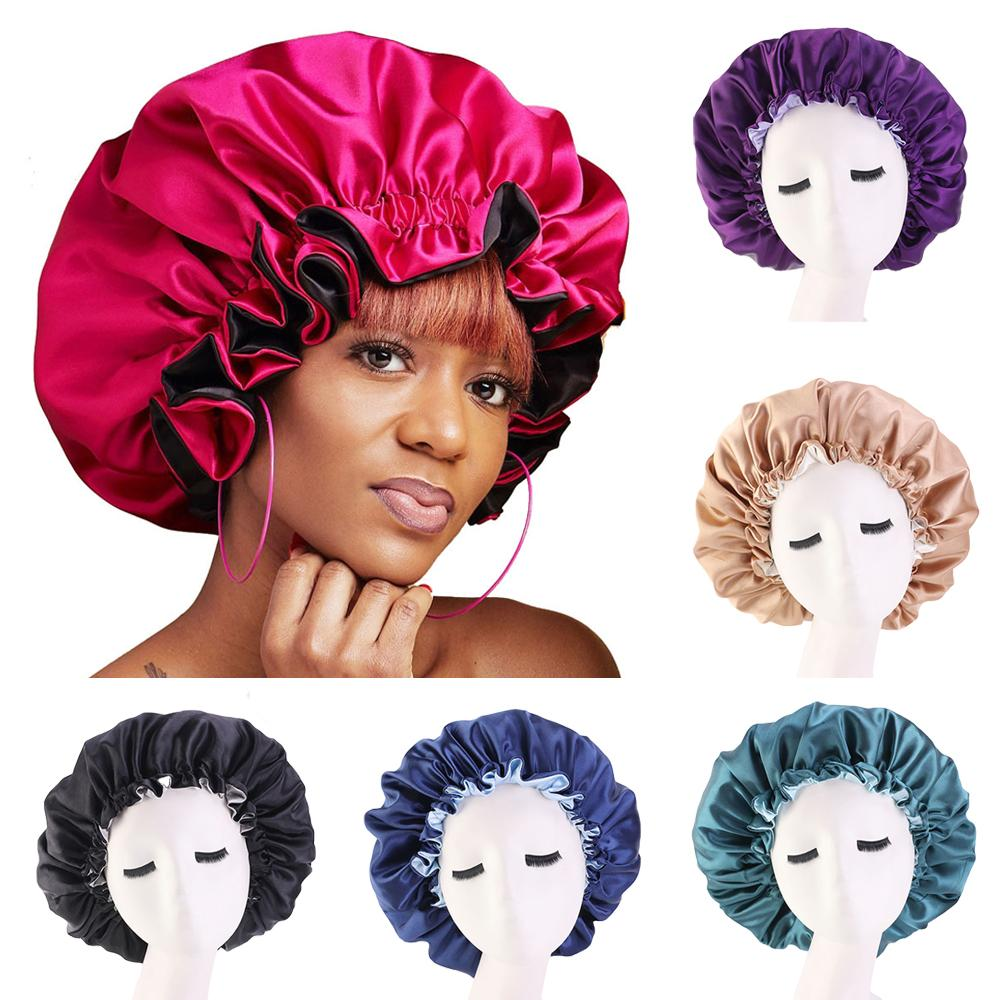 Muslim Women Night Sleep Cap Satin Elastic Bonnet Hat For Hair Care Head Cover Adjust Hair Loss Hat Beanies Skullies Islamic New