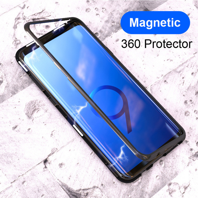Trasparent Glass Magnetic Phone Case for Samsung S9 S8 Plus s10 plus s9plus Galaxy note 9 8 magnet flip case 360 full cover