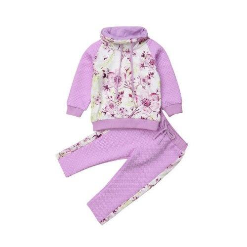 1c01ed4b63b2 2pcs set Newborn Kids Baby Girls Sweatshirt Hoodies+Pants Floral ...