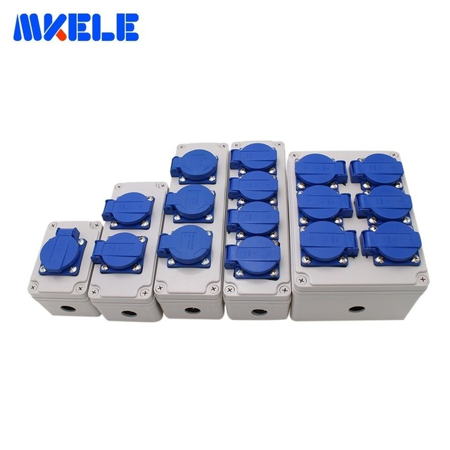 Plastic Waterproof Socket Box Household Socket Junction Box Outdoor Rainproof Socket Box With Cable Glands and Wire Connectors