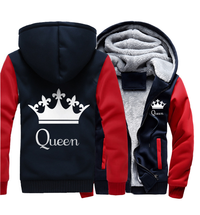 New Queen-King Couple Printed Flannel Hat Guard Trendy Open-top Men's Outerwear streetwear coat