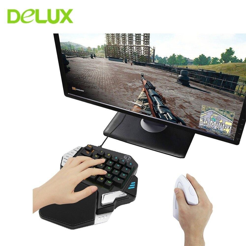 Delux T9X clavier de jeu filaire USB demi mécanique RGB rétro-éclairage 33 touches clavier Type C Interface pour Gamer PUBG LOL PC ordinateur portable