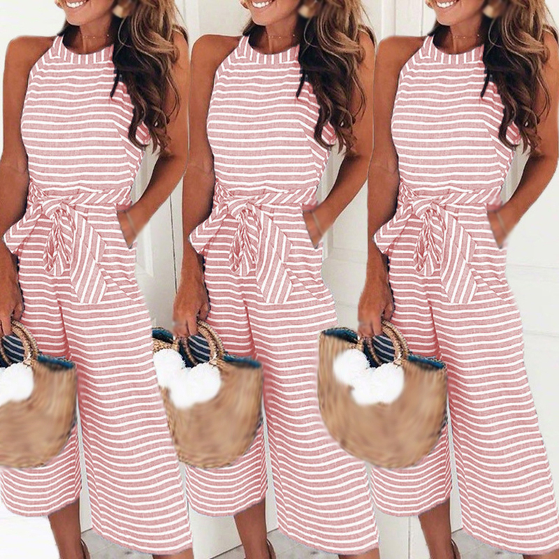 Womens Sexy Sleeveless Strap   Jumpsuit   Summer Backless Pocket Baggy Trouser Rompers Casual Solid Beach Overalls For Women