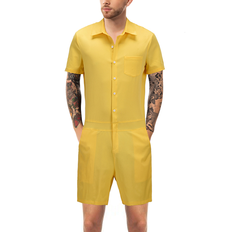 Summer Fashion Men Solid Color Romper Short Sleeve Casual Man Jumpsuit Plus Size Male Overalls One Piece Slim Fit Pants D9073