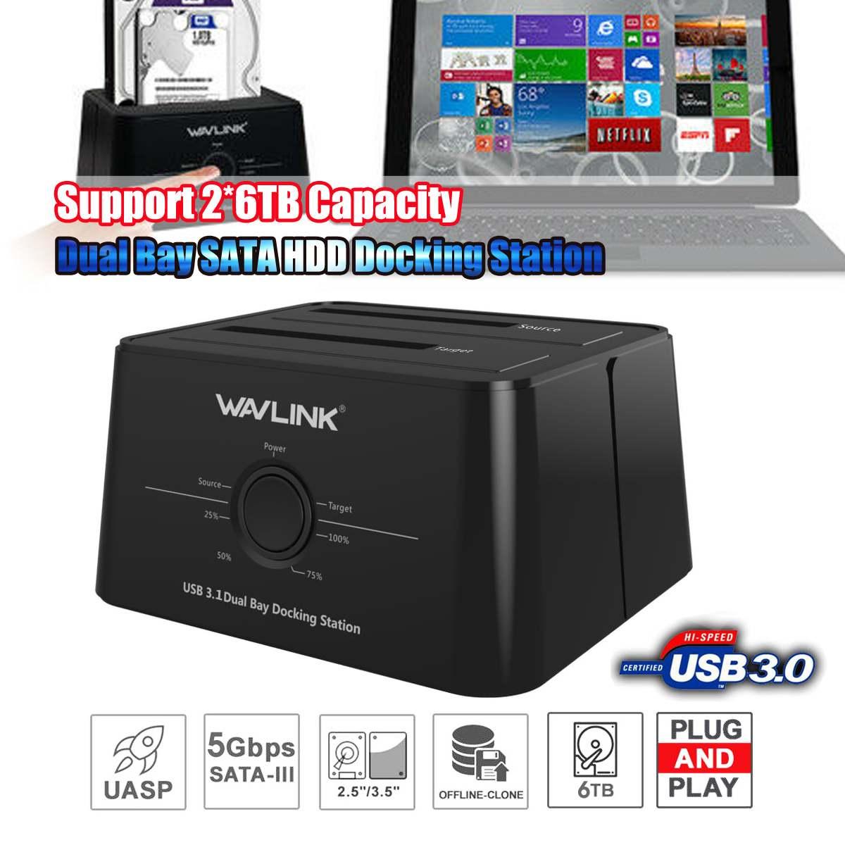 Wavlink Wl-ST334U USB 3.0 double HDD Station d'accueil double baie boîtier de disque dur externe pour 2*8 to HDD boîtier ssd