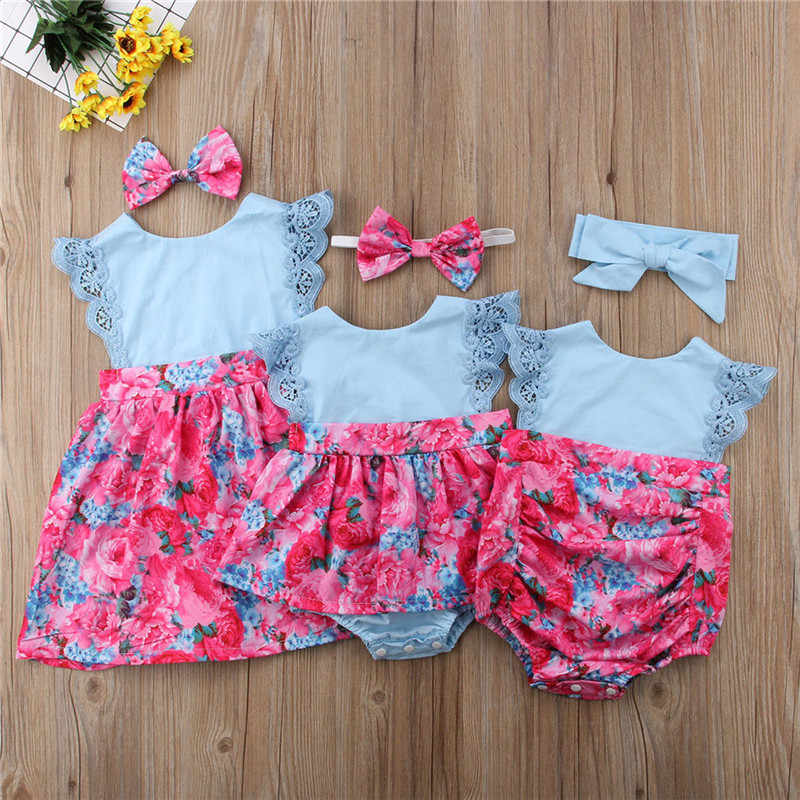 203e8f4db44c1 PUDCOCO Fashion Matching Big Little Sister Kids Baby Girls Lace Flower  Rompers Dress Sundress Casual Cotton Outfits 0-6T