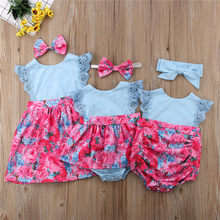 PUDCOCO Fashion Matching Big Little Sister Kids Baby Girls Lace Flower Rompers Dress Sundress Casual Cotton Outfits 0-6T(China)