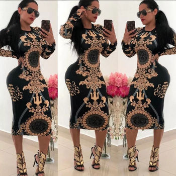 Women Casual O-neck Print Long Sleeve Bodycon Party Dress Ladies Sexy Striped Clubwear Dresses
