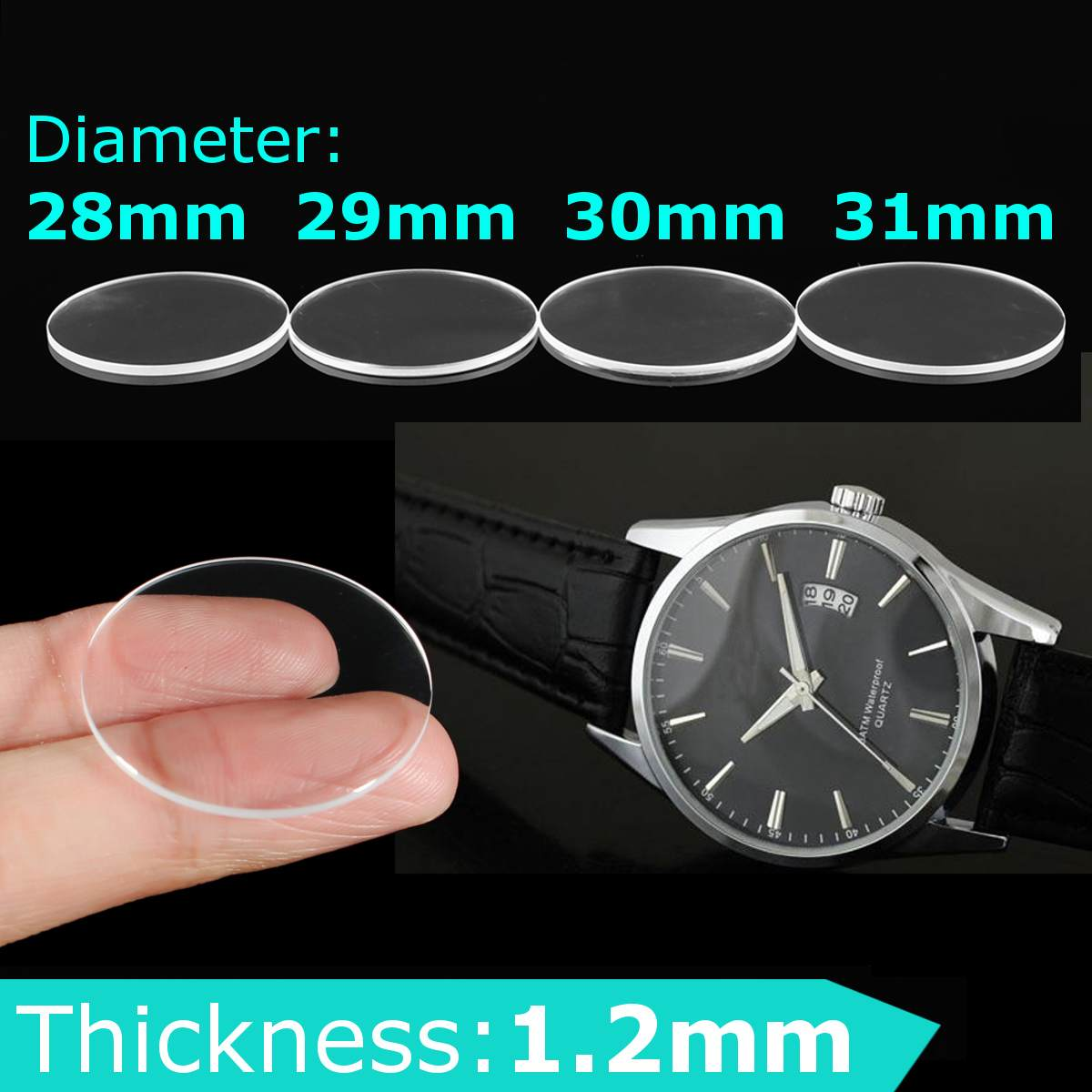 1.2mm Thick Flat Sapphire Watch Glass Anti Scratch Smooth Round Transparent Crystal Glass For Watch Repair Size 28/29/30/31mm