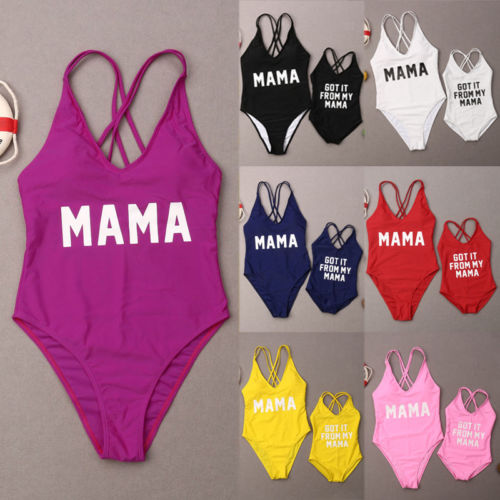 9233a461d6 2019 Summer Family Matching Women Kid Baby Girl One Piece Letter Print Bathing  Suit Swimwear Swimsuit