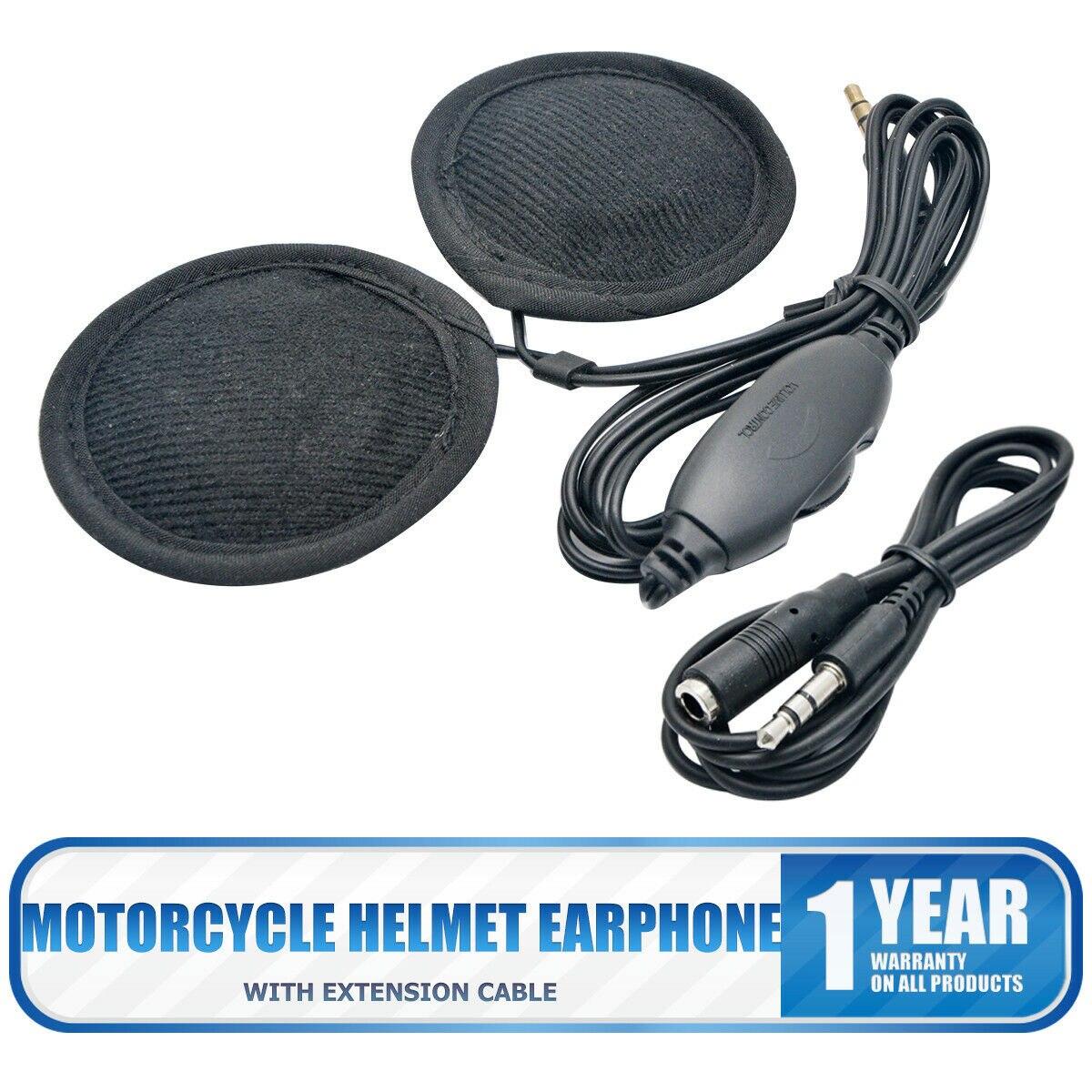 Motorcycle Helmet 3.5mm Jack Earphones Stereo Speakers Headphones Volume Control