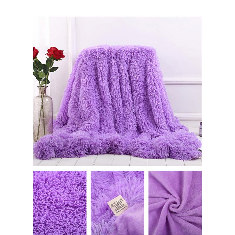 1PC Super Soft Blanket Home Sofa Use Winter Throw Blanket Long Shaggy Fuzzy Double Layer Fluffy Sherpa Blankets 2 Sizes