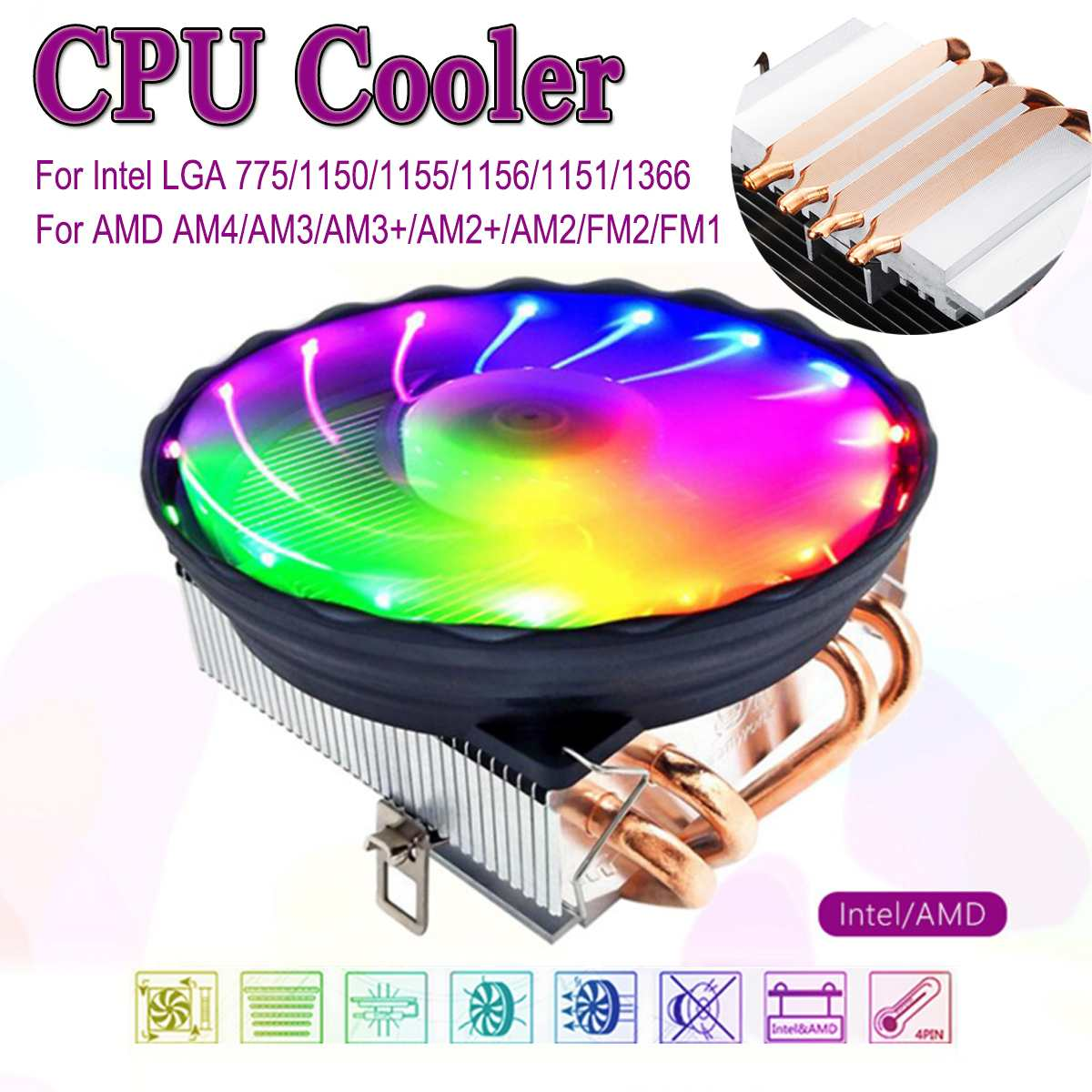 4 Heatpipes CPU Cooler 4pin <font><b>PWM</b></font> LED <font><b>120mm</b></font> Cooling <font><b>Fan</b></font> Radiator Heatsink for Intel LGA 1150/1151/1155/1156 for AMD AM3+ AM3 AM2 image