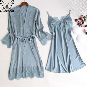Image 4 - Queenral 2pcs Womens Sleep Lounge Robe Gown Sets Sleepwear Womens Sleep Set Femme Lingerie Set Nightwear Lace Homewear