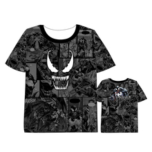 Anime Venom Spiderman Black and White Marvel   Short Sleeve Summer dress t shirt Marvel Comics DC Streetwear Movie Tops T shirt