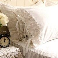 2pcs European Type Romantic Pillow Case Embroidered Pillowcase Satin Crochet Lace Cotton Princess Pillow Cover No Filler 10