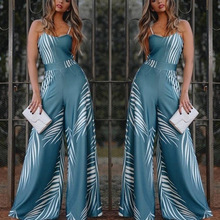 Blue Elegant Women High Waist Flared Jumpsuit 2019 New Spaghetti Strap Bell-Bottomed Pants Long Female Wide Leg Siamese Trousers blue floral print flared long pants