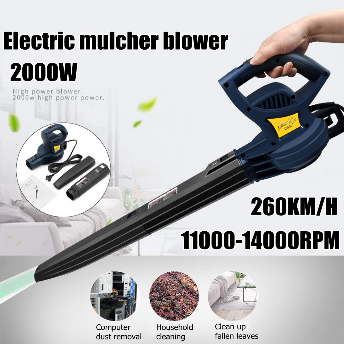 2000W  11000-14000rpm 260km/h Electric Portable Electric Blower Air Blower Air Blowing Machine Dust Leaf Air Blower
