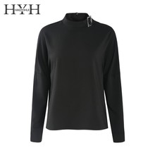 HYH HAOYIHUI  2019 Simple Commuting Pure Colour Lapper Neck Semi-high Collar Invisible Zipper Pullover Shirt цена