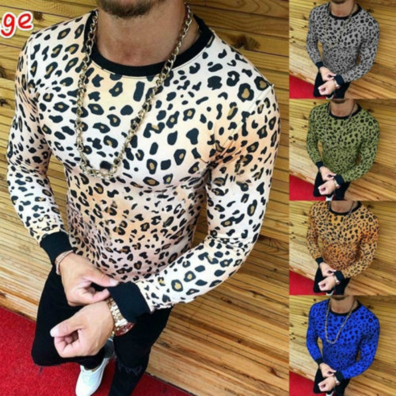 <font><b>2018</b></font> Fashion Brand Clothing 4 colors O Neck Men's <font><b>Sexy</b></font> Leopard Fitness Casual For Male T-shirt M-3XL Dropshipping image