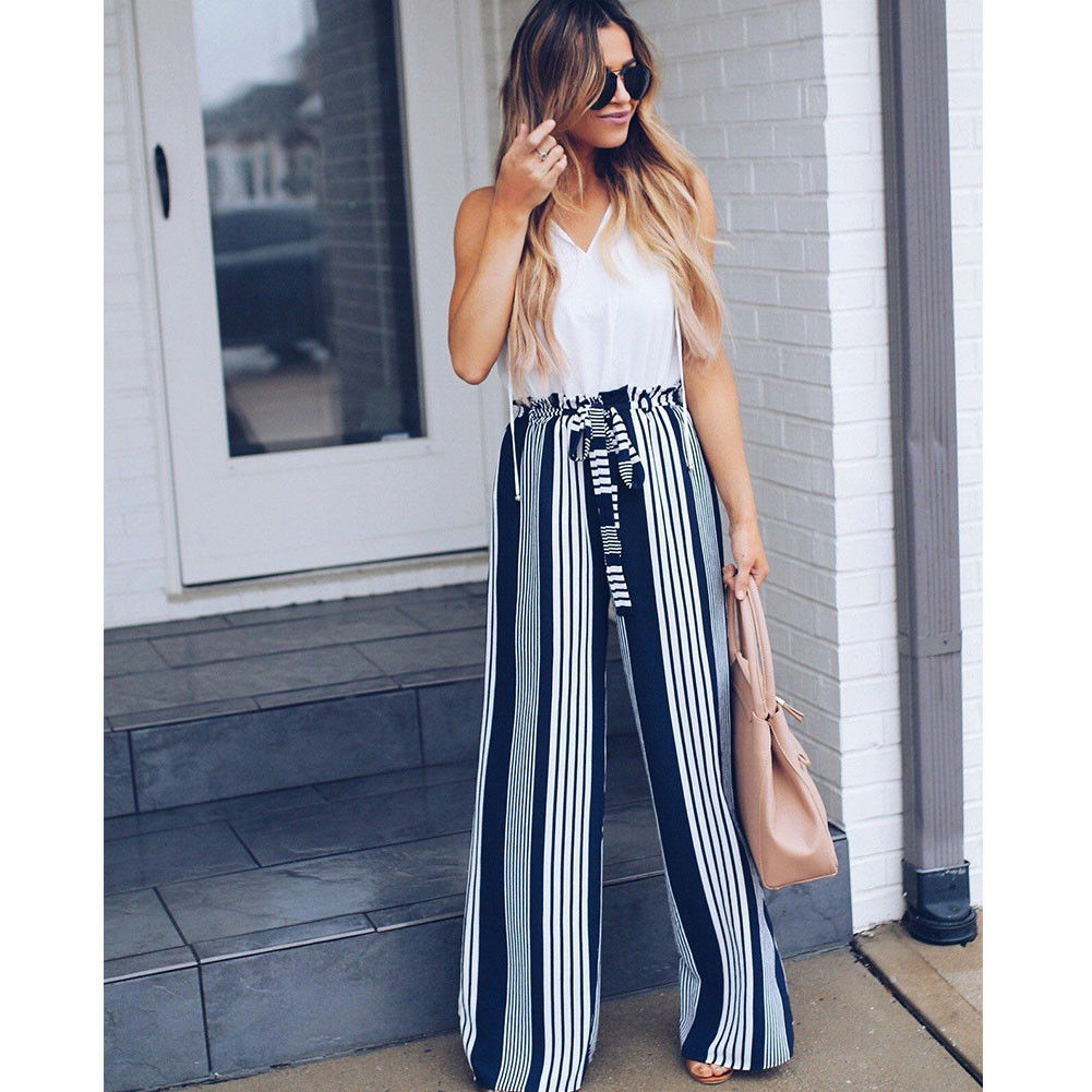 Stripe Cotton Linen Loose Wide-leg Chic Retro Womens Long Pants Trousers Summer