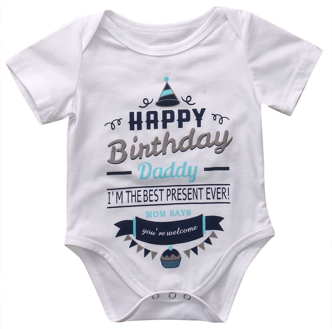 Novelty Baby Romper Infant Boy Girl Short Sleeve Letter Happy Birthday Print Jumpsuit Party