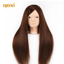 Qoxi Professional training heads with 60% real human hairs can be curled practice Hairdressing mannequin makeup Styling dolls(China)