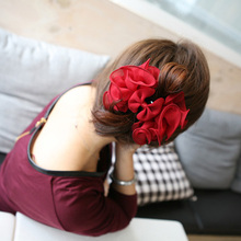 Large Silk Chiffon Flower Bow Hair Claw Clip Ladies Fashion Hair Accessories Flower Bow Hair Claw Jaw Clips For Women Hair clamp