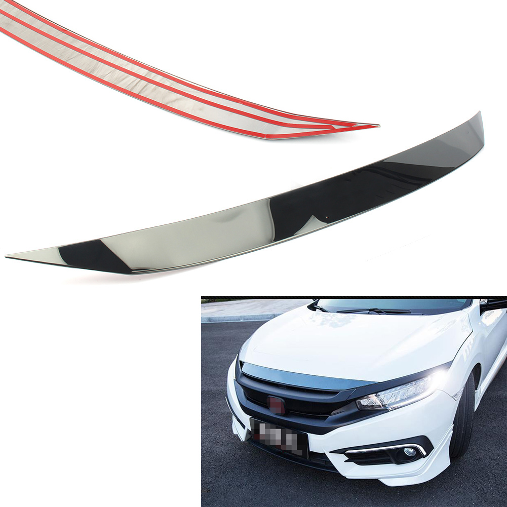 Auto Car Styling Front Hood Strip Cover Trim Decoration Protector For Honda Civic 10th Generation 2016