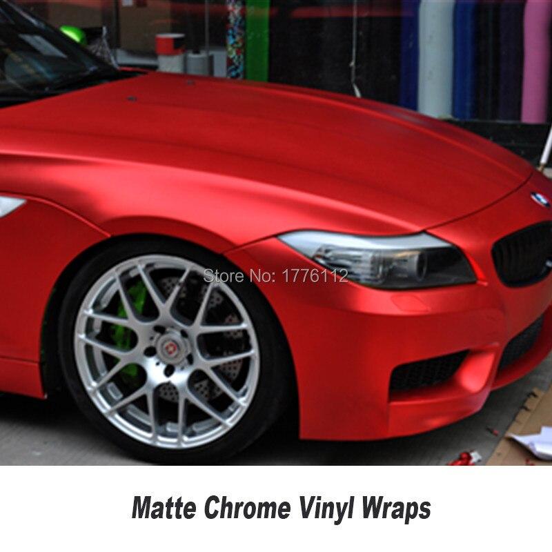 Film de protection pour voiture en vinyle chromé mat rouge pour voiture - 5