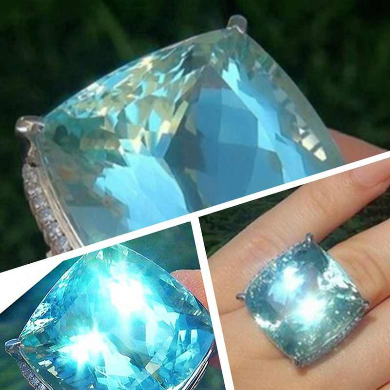 925anillos Silver Hot New Silver Ring Light Blue Large Zircon Square Crystal Engagement Wedding Sapphire Ring