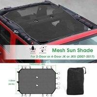 Sun Shade Mesh Sunshade Full Top Cover UV Protection Car For Wrangler JK 4 door 157cmx137cmx0.5mm Sunroof Convertible & Hardtop
