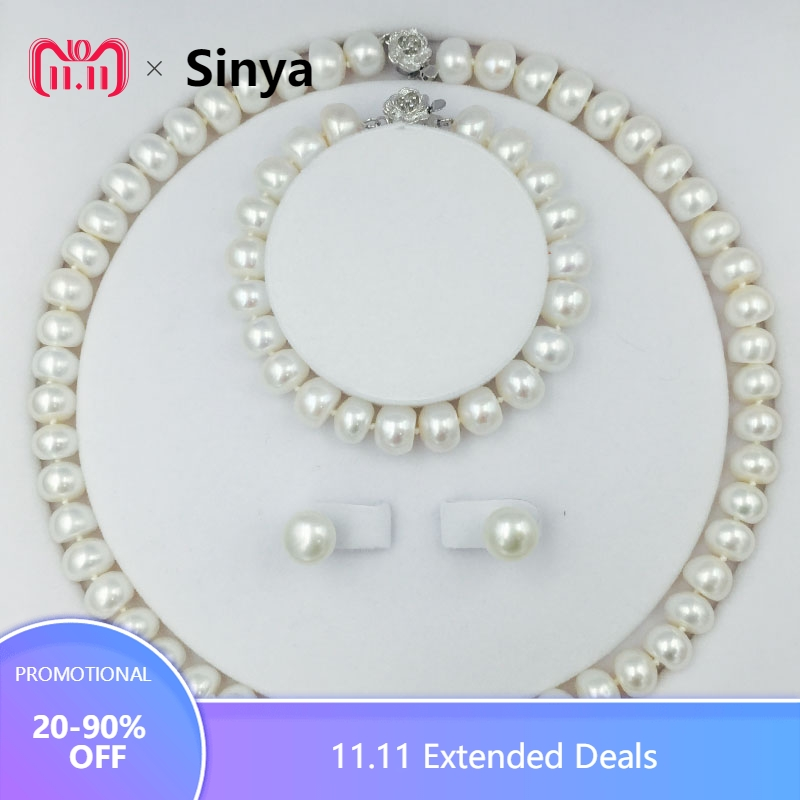 Classical freshwater pearls bead jewelry Set with 18inch necklace earring bracelet 9-11mm pearls chokers sterling silver lock neje hb0001 19 20 in 1 classical manganese steel unlocking lock picking tool set silver