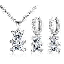 Sexy Mom Animal Bear Jewelry Sets for Women Stainless Steel Necklace Earrings Jewelry Sets Wedding Bride Jewelry Set