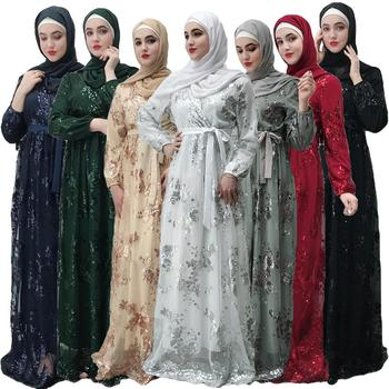 Dubai Abaya Women Sequin Maxi Dress Muslim Wedding Evening Party Kaftan Long Robe Gown Glitter Fashion Ramadan Long Dress New