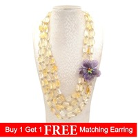 LiiJi Unique Natural Citrines Amethysts Flower Shell Toggle Clasp Necklace Statement Knitting Jewelry For Women