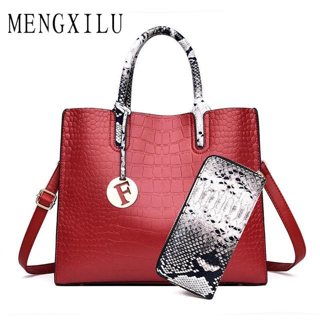9cf8f86a02 Ladies Hand Bags Women 2019 Luxury Handbags Women Bags Designer Crocodile  Print 2 Sets Handbag and Clutch Purse Bolsas Feminina