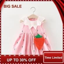 Summer Baby Dress with Bag Sleeveless Vestido Infantil Novelty Cotton Baby Girl Dresses недорого