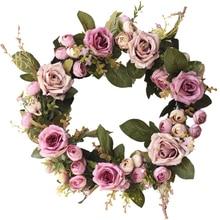 13.78 Beautiful High Quality Exquisite Rose Tea Flower Wreath Door Decoration Wedding Home Supplies