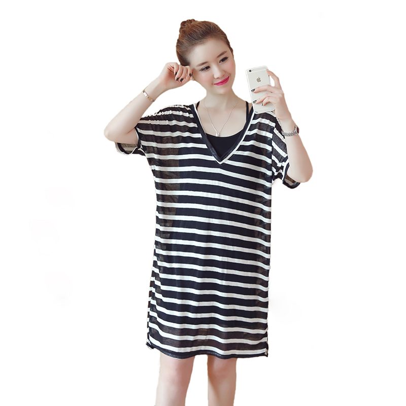US $16.42 50% OFF|Pengpious 2019 summer maternity stripe two piece dress  suits plus size strap batwing dress+black strap cotton camis twinset  nice-in ...