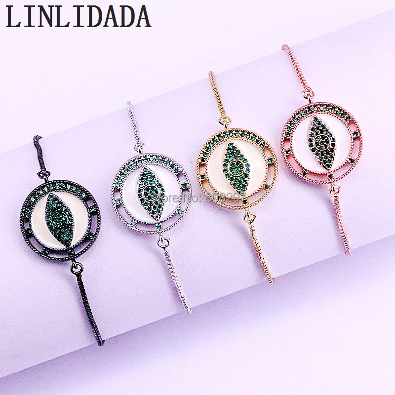 10Pcs Gold Silver Rose Gold Black Fashion New Pave CZ and White enamel Round Eye Connector